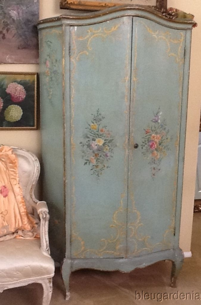 antique venetian hp italian 1920 39 s armoire aqua roses hand painted armoires and painted. Black Bedroom Furniture Sets. Home Design Ideas