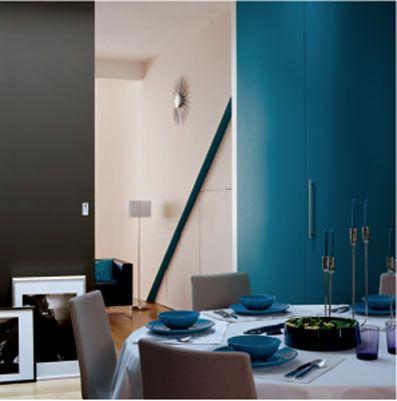 decoration salon peinture couleur bleu canard gris fer - Salon Bleu Canard Et Gris