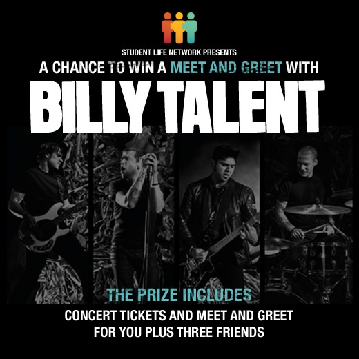 We're giving away a meet and greet and concert tickets to Billy Talent for you and 3 friends. Ten dates across Canada = ten winners!    Register at http://www.meetbillytalent.com/?utm_source=pinterest_medium=post_campaign=billytalentlaunchpin  The Dead Silence Tour starts in March 2013 and features Sum 41, Hollerado & Indian Handcrafts, and obviously, headliners Billy Talent.  We're drawing TEN winners -- one for each show on this list.  There's plenty of Billy Talent to go around.