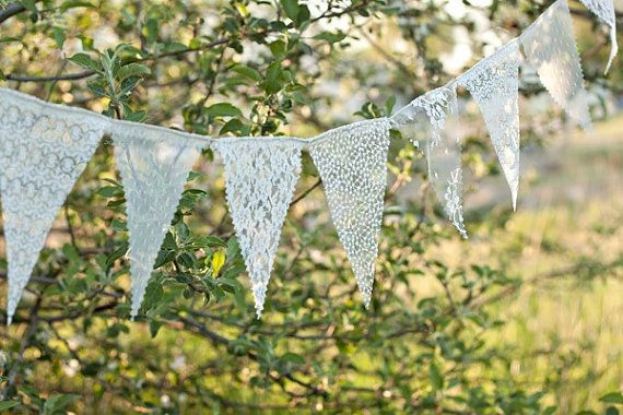 Maybe for the back fence part of the reception. ??? Lace Bunting Banner lace bunting wedding by TheGlitteredBarn, $30.00