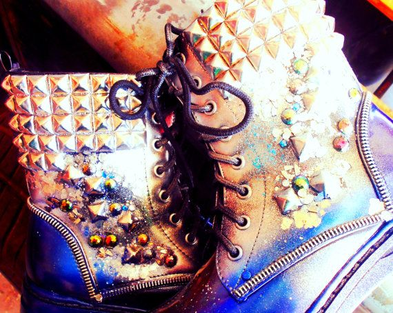 Combat Prom Queen Studded Holographic Boots by kaylastojek on Etsy, $130.00