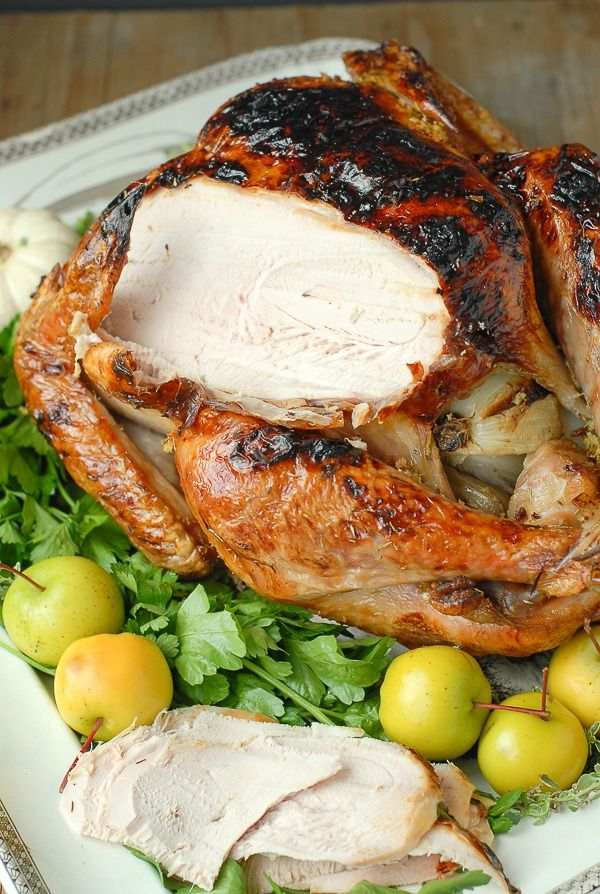 White Wine Ginger Thyme Brined Roast Turkey. Moist, succulent and just what you want on your Thanksgiving table!