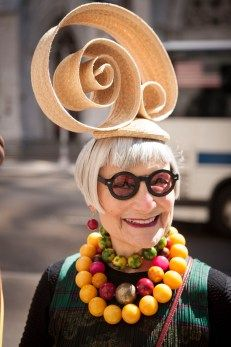 Hats off to these veteran Easter Bonnet beauties | New York Post #millinery #judithm #easterparade Jean of Idiosyncratic Fashionistas in strip straw fashion. Lovely!