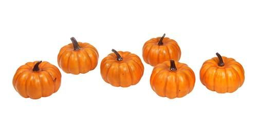 """Pack of 6 Thanksgiving Fall Harvest Bright Orange Artificial Pumpkin Decorations 4"""""""""""
