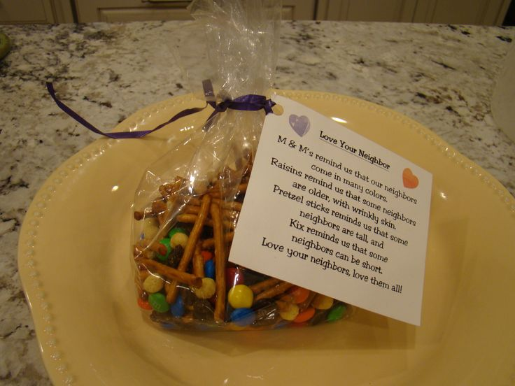 "Parable of the Good Samaritan - ""Love Your Neighbor"" Snack Mix. Purchase M & M's, raisins, pretzel sticks and Kix Cereal. ""M & M's remind us that our neighbors come in many colors. Raisins remind us that some neighbors are older, with wrinkly skin. Pretze (pretzel snacks hands)"
