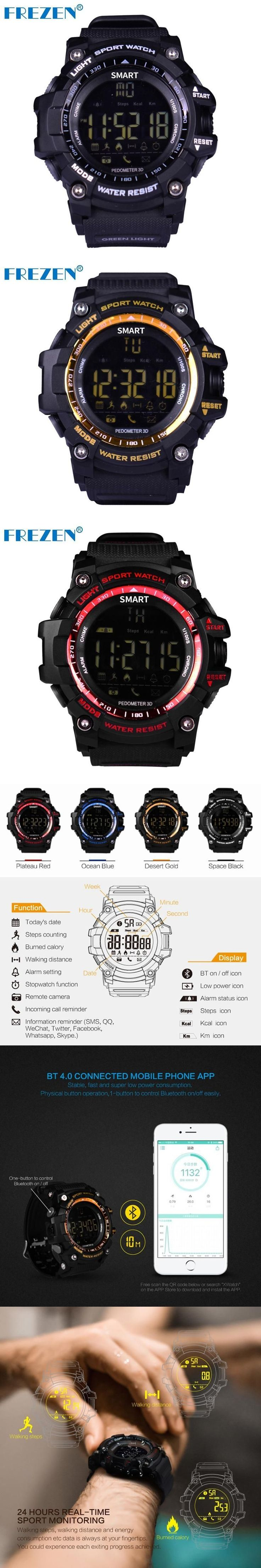 FREZEN Smart Watch F-EX16 Sports Waterproof IP67 #smartwatch Stopwatch Alarm Clock Long Time Standby For IOS Android