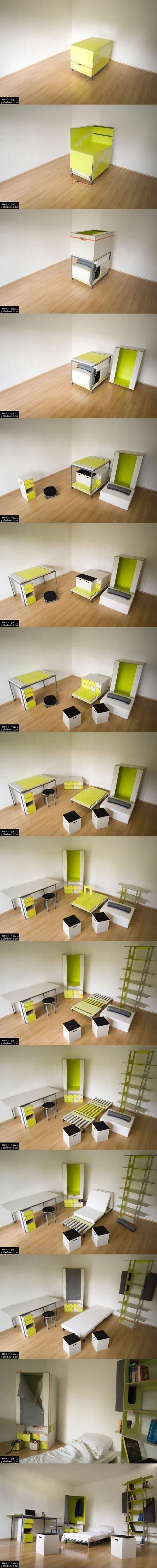 Todos los muebles de un dormitorio en una caja