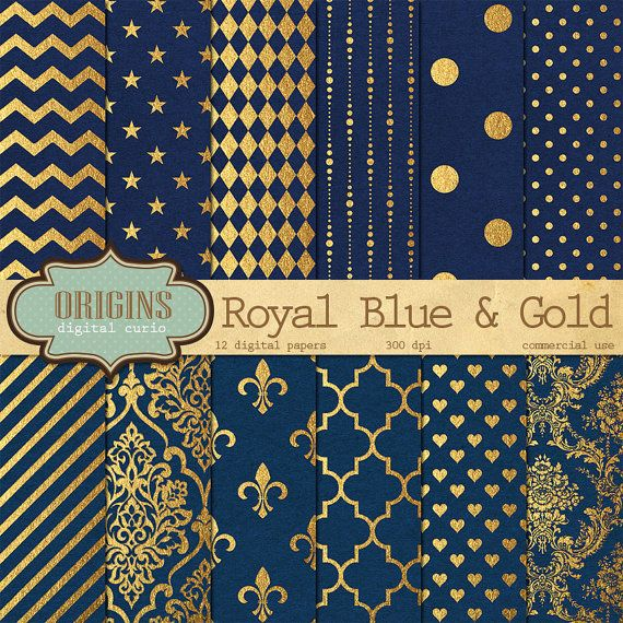 Royal Navy Blue and Gold Foil  12 Pack by OriginsDigitalCurio
