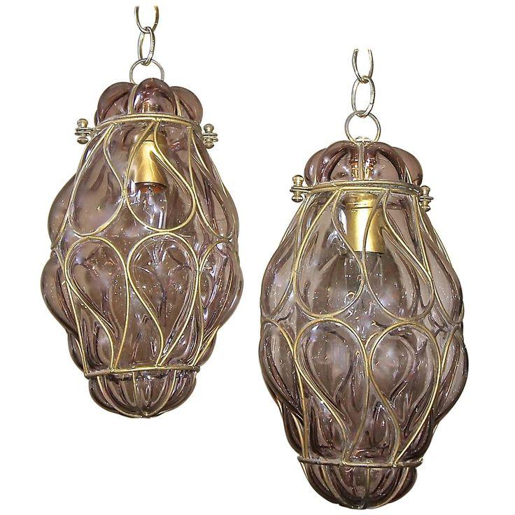 Pair of Venetian Murano Amethyst Caged Glass Pendant or Lantern Ceiling Lights 1