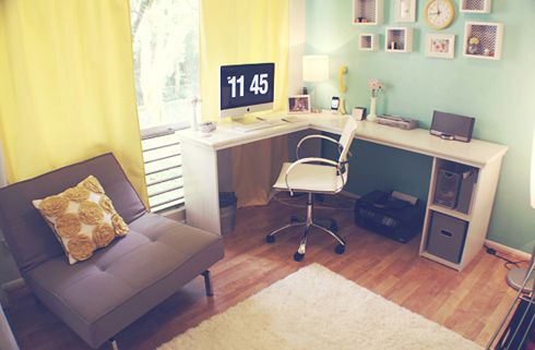 officeWall Colors, Mint Green, Corner Desks, Green Wall, Offices Spaces, Work Spaces, Colors Palettes, Offices Colors, Home Offices