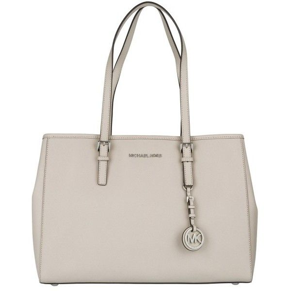 Michael Kors Handle Bag - Jet Set Travel LG Tote EW Cement - in beige... ($245) ❤ liked on Polyvore featuring bags, handbags, tote bags, beige, pink tote bags, clear handbags totes, travel tote, clear handbags and pink tote