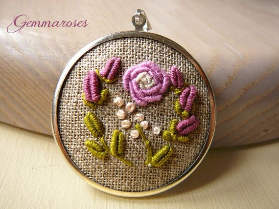 Hand Embroidered Rose Pendant