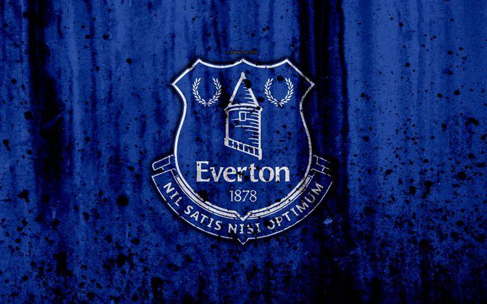 Indir duvar kağıdı FC Everton, 4k, Premier Lig, logo, İngiltere, futbol, futbol kulübü, grunge, Everton, sanat, taş doku, Everton FC