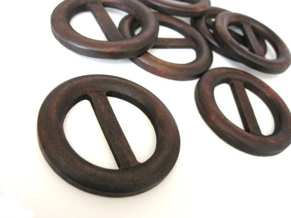 Wood Belt Buckle - Brown round belt or bag buckle 50mm (BU300)
