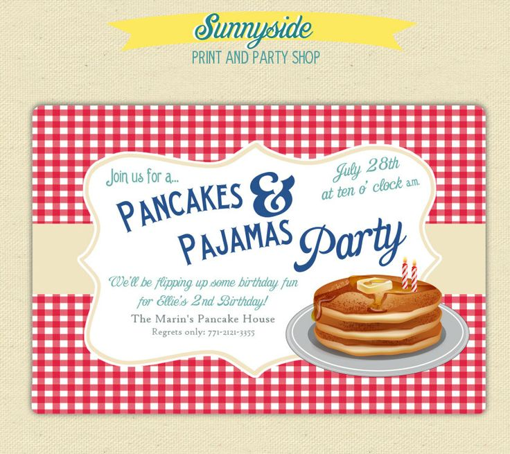 Pancakes And Pajamas Invitation Girls Birthday Pajama
