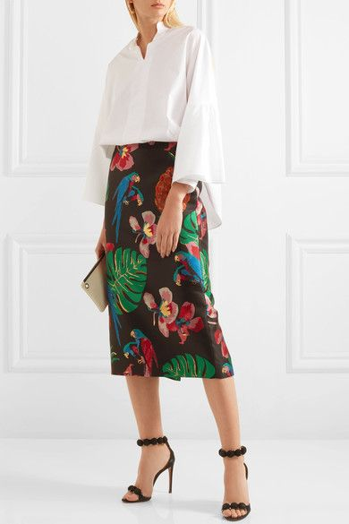 Multicolored floral-jacquard  Concealed hook and zip fastening at back 75% polyester, 17% silk, 8% metallized fiber; lining: 100% silk Dry clean Made in Italy