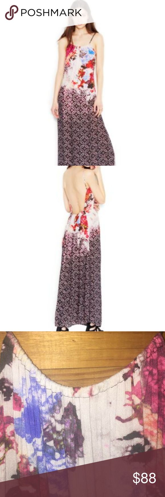 Free People Nomad Maxi Dress Multi color maxi dress features a scoop neck line with high side slits and a sexy low back.  Only worn a handful of times. The spaghetti straps are not adjustable. Free People Dresses Maxi