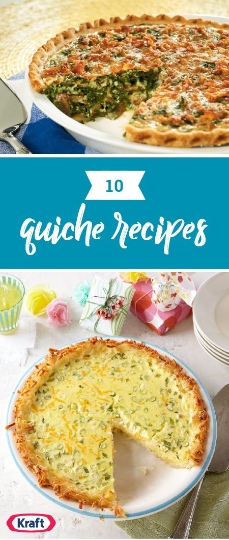 """10 Quiche Recipes – Quiche: the perfect breakfast-time or brunch pie—but you know it's extra delicious when it's a part of your """"breakfast for dinner"""" menu! It's a way for eggs and cheese (and a few friends like spinach, ham, peppers, etc.) to come together and get a flavorful party going."""
