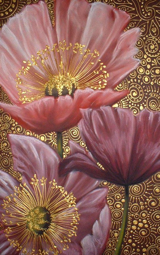Three Pink Poppies by Cherie Dirksen  (chalk pastel and acrylic liner on canson paper).