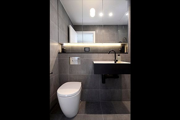 Basin, Cdesign 620 Wall Basin Solid with Soft Skin Surface (Reece), Black Chrome Dip (Precision Plating)