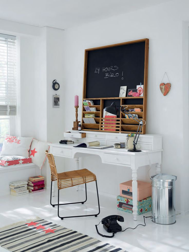 I like the combination of this blackboard and mail slot organizer. If I recreate it, I'd like to see the outside frame a bit beefier for that size/scale.