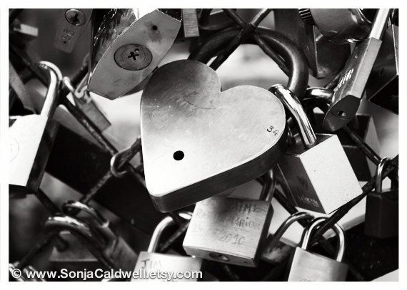 Love Locks, Paris - fine art black and white photography, locks of love, padlocks on the bridge 5x7 Original Signed Fine Art Photograph. $14.00, via Etsy.