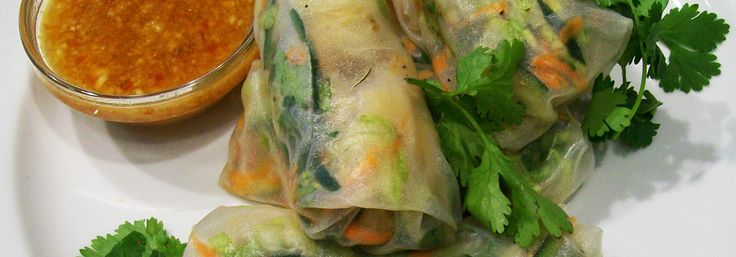 Vietnamese prawn rice paper rolls with chilli peanut dipping sauce