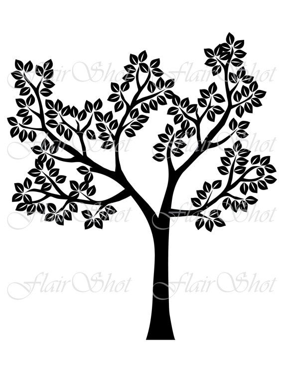 Digital Tree Clip Art Silhouette Tree Clipart Black Leaves Etsy In 2021 Leaf Clipart Tree Silhouette Tree Clipart