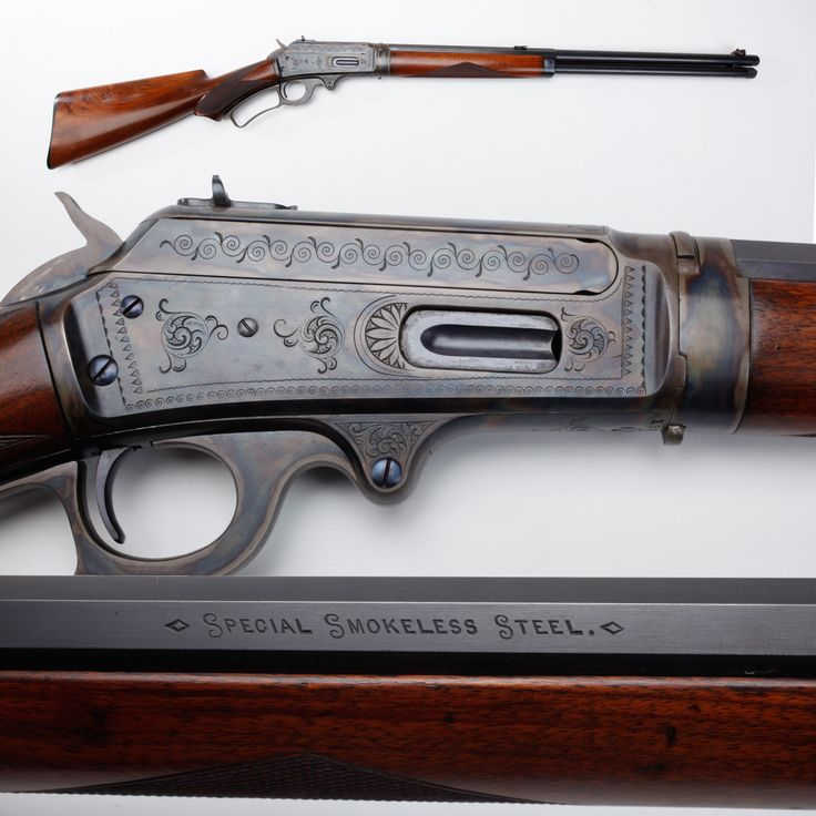 """Marlin Model 1893 Rifle (Part I) - This M1893 was Marlin's first lever-action model chambered for smokeless powder cartridges. Proudly marked on the side of the barrel """"Special Smokeless Steel,"""" this model rifle was to be made from 1893 to 1935.  Our example is chambered  for the .38-55 cartridge, but the case colors and engraving attract far more attention.  Collectors estimate that up to a million M1893 rifles were produced. At the NRA National Firearms Museum in Fairfax, VA."""