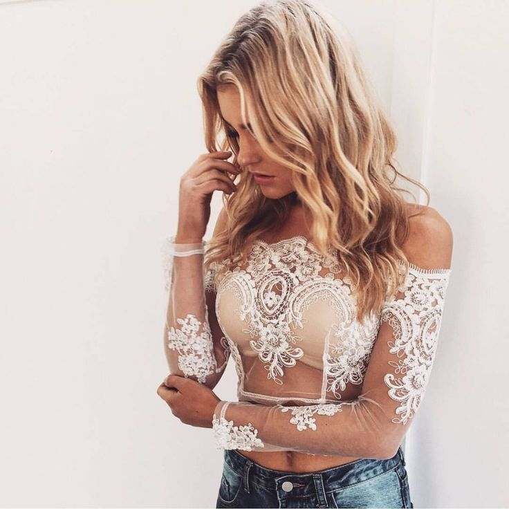 Lace shoulder sexy blouse with long sleeves blouse