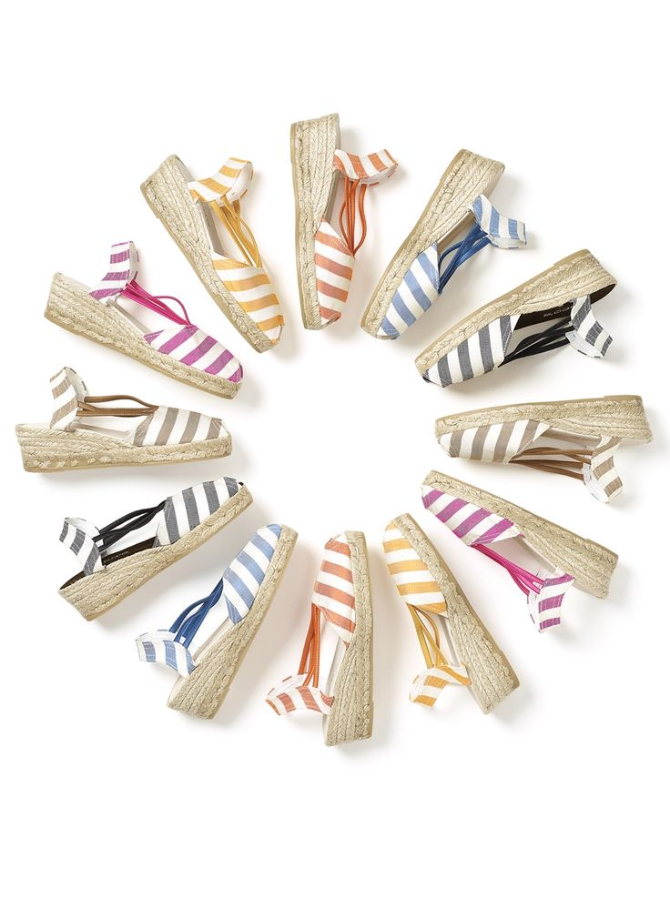 A rainbow of striped espadrille wedges