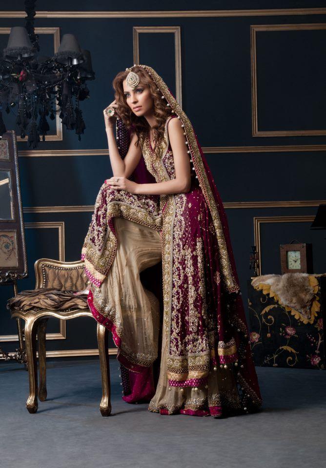 Waseem Noor - Pakistani bridal fashion - purple / pink