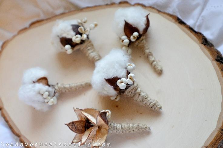 DIY Raw Cotton Boll Boutonniere: Head Over Heels