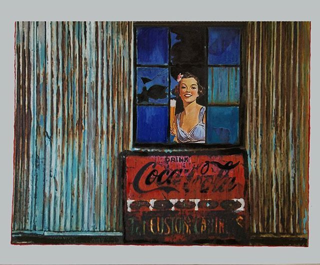 Cheers (Broken Windows series) 2014 cm 25×35 #inkonpaper #acryliconpaper #pencilonpaper #paperpaint #workonpaper #illustration #figurativeart #beer #coke #cocacola #monacoart #brokenwindows