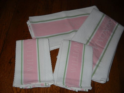 4 Pcs Williams Sonoma Pink White Green Signature Kitchen Towel Set 3 Piece  New