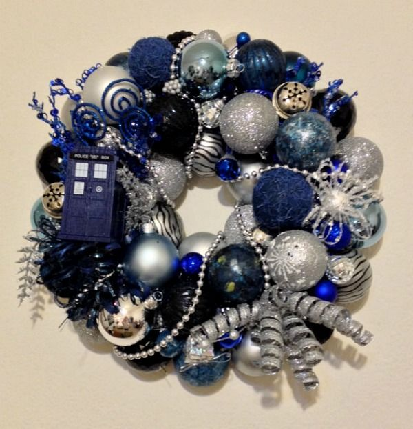 Holding your breath for the new Doctor Who Christmas special? Then share your love of the Mad Man in a Box with this perfectly blue TARDIS wreath