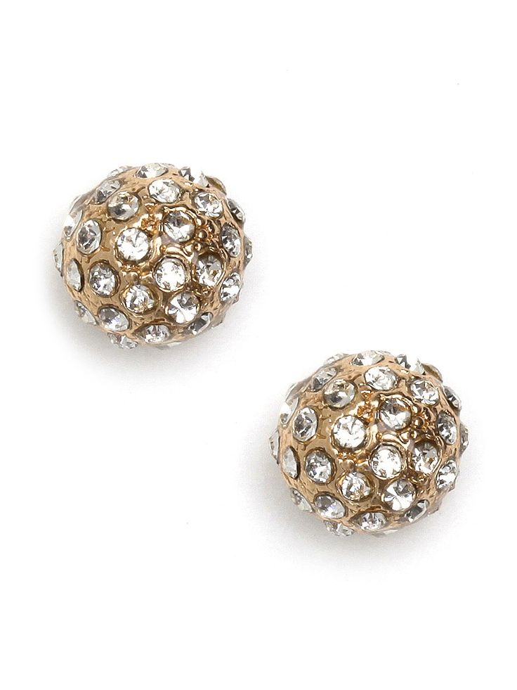 Pave covered studs pack a punch, but their smaller size makes them just right for day or as a subtle accent to a statement necklace. A small gold-tone sphere is covered with crystal pave detail.