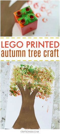 This fun autumn leaves craft uses lego to make an easy autumn tree. Perfect for preschoolers or kids who love to make art!
