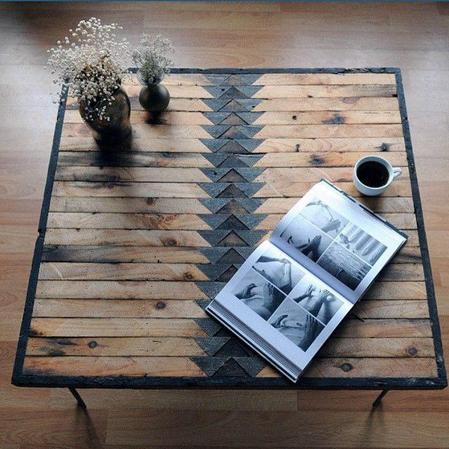 Wooden plank table - you could quite possibly make your own from pallet wood