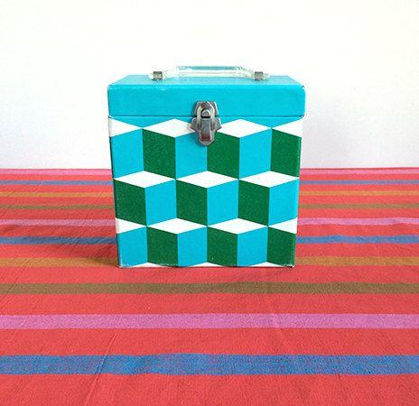 Vintage Record Storage Box 60s Mod Record Case Vinyl Lp