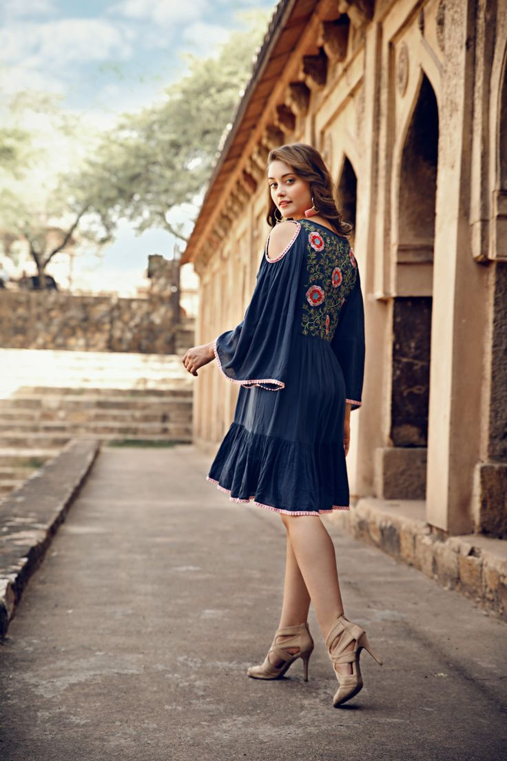 Naudic in beautiful India, featuring the beautiful festival embroidery dress
