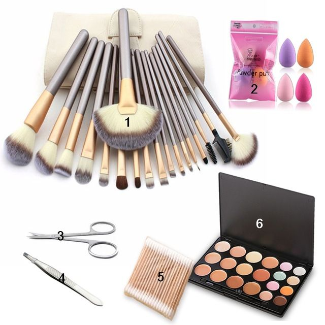 Amazing Deal $27.31, Buy Makeup Sets Colorful Concealer Cosmetics+18 Makeup Brush + Stainless Steel Eyebrow Scissors +Make Up Sponge Puff Beauty Tools