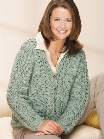 Sea Spray Cabled Cardigan - Darla Sims  #Free #Crochet #Pattern free-crochet.com Membership site - membership is free and well worth it!