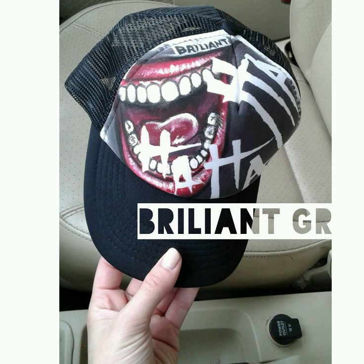 hand painted hat by briliant gr // briliant-hat-project /// hand drawn illustrations on caps by Briliant Gr / every hat is unique / m.facebook.com Briliantpage/ #available #briliantgr #hat #2016  #art art on hat #briliant_gr #joker #suicidesquad #fanart