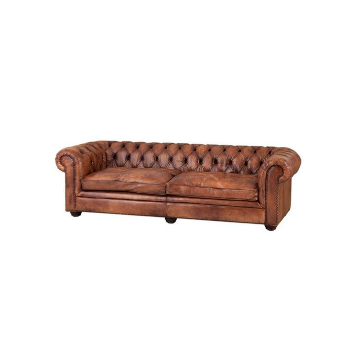 Traditional Chesterfield Style Sofa With A Lower On Back Detail Upholstered In Striking Aged