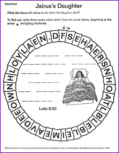 Jesus Heals A Bleeding Woman Craft See More Jairuss Daughter Puzzle Kids Korner