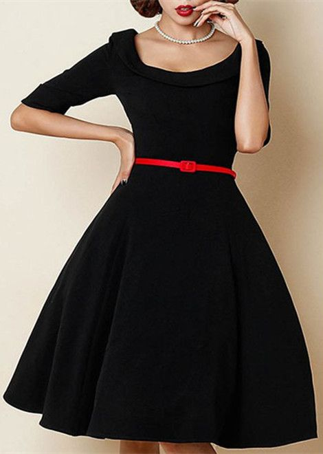 Retro Style Scoop Neck 1/2 Sleeve Solid Color Women's Ball Gown Dress