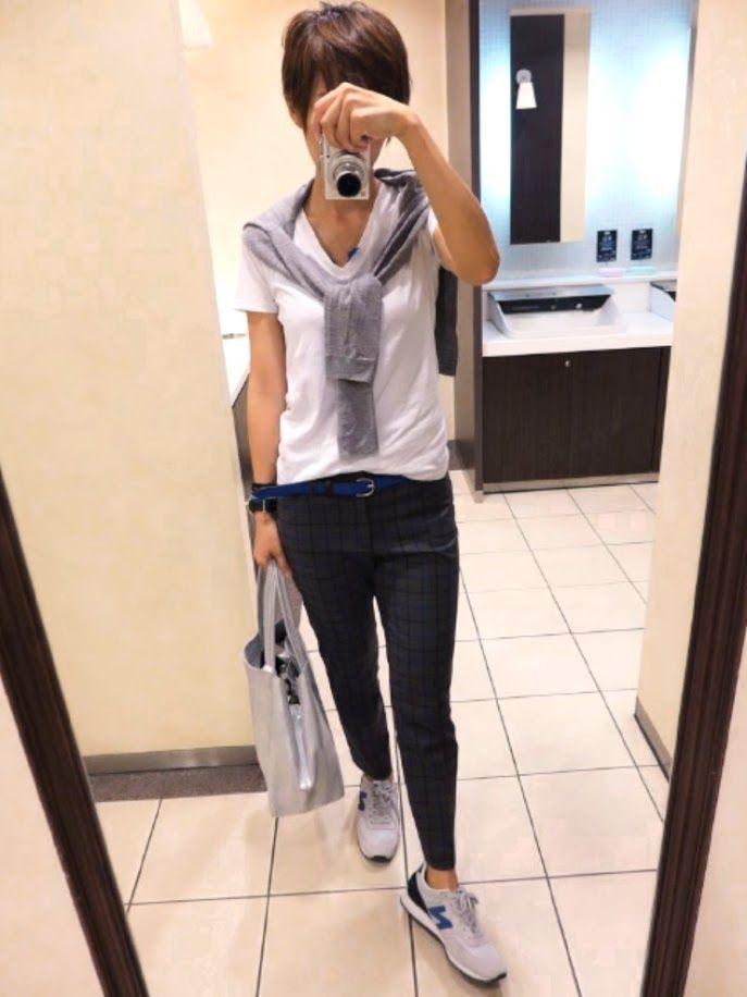 今日も大好きなボーイズスタイル。  カーディガンは/UNIQLO Tシャツ/Gap パンツ/Gap バッグ/ジャーナル 靴/ニューバランス