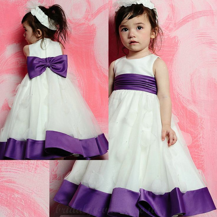 Flower Girl Dresses Lace Tutu Diy Simple Scoop Neckline With Bowknot Satin Sash And Petals Adornment White