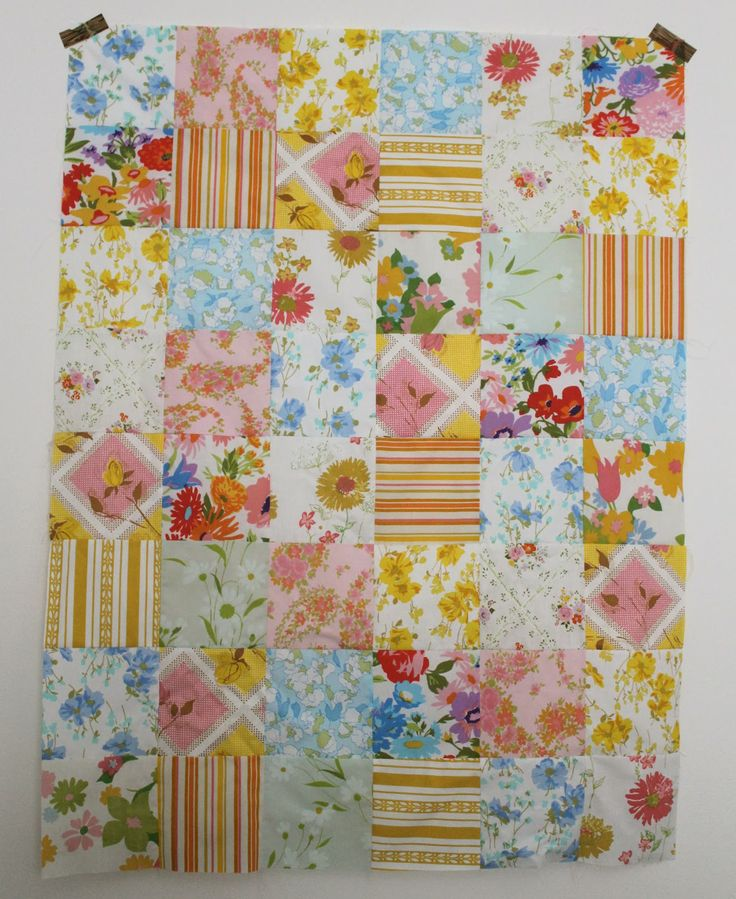 Craftyblossom: vintage sheet quilt.: Sheet Quilt, Sewing, Sheet Patchwork, Quilty Things, Quilt Craze, Vintage Sheets, Sew Quilty